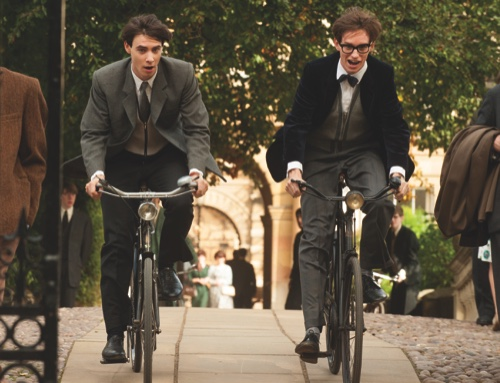 """Harry Lloyd, left, and Eddie Redmayne as Stephen Hawking in a scene from """"The Theory of Everything"""""""