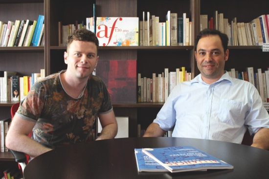 French Singer Frederick (left) is pictured with AF's director Xavier Garnier