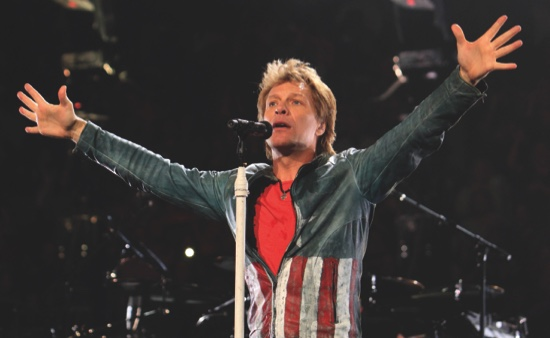 Jon Bon Jovi performs in concert with his band Bon Jovi on their ...
