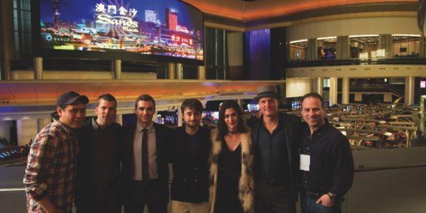 Director Jon M. Chu, J. Daniel Atlas (Jesse Eisenberg), Jack Wilder (Dave Franco), Walter Mabry (Daniel Radcliffe), Lula (Lizzy Caplan), Merritt McKinney (Woody Harrelson) and Producer Bobby Cohen on the set of NOW YOU SEE ME 2