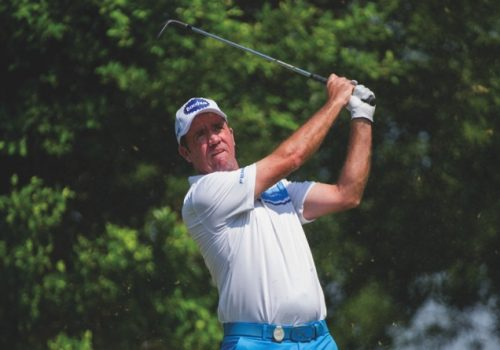 Scott Hend takes a swing during last year's tournament