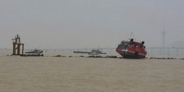 A high-speed ferry heading to Macau crashed into a breakwater in Macau's harbor (June 2014)