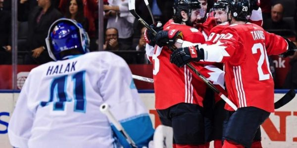 Canada's Steven Stamkos (91) celebrates his goal against Europe goalie Jaroslav Halak (41) with teammates Drew Doughty (8), Ryan Getzlaf and John Tavares (20) during the first period of Game 1 of the World Cup of Hockey finals