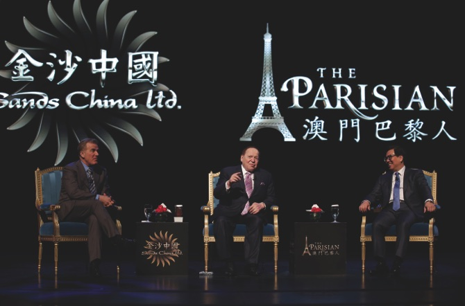 From left: President and COO of Las Vegas Sands, Robert Goldstein; Sheldon Adelson and Wilfred Wong