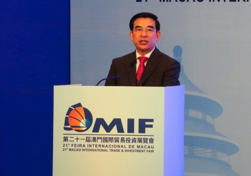 Wang Anshun pictured yesterday speaking at the MIF