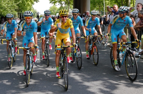 Team Astana with Italy's Vincenzo Nibali, wearing the overall leader's yellow jersey
