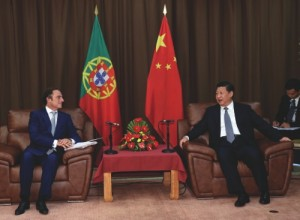Xi Jinping meets with Portuguese deputy prime minister Paulo Portas in Terceira Island, Azores