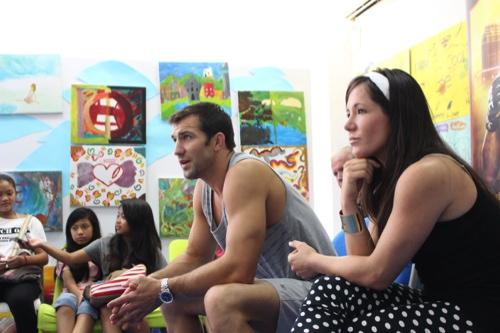 Luke Rockhold (center) and Angela Magana (right)