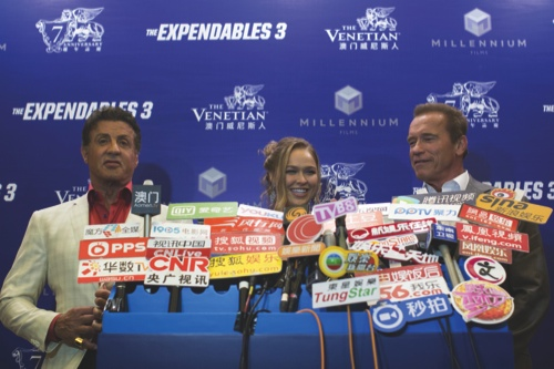 Stallone, left, Ronda Rousey, centre, and Arnold Schwarzenegger pose during an interview