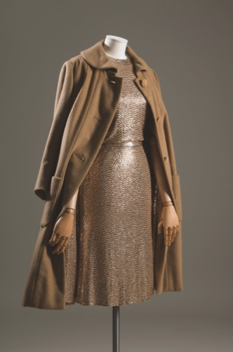 "Gold sequined camel silk jersey ""mermaid"" sheath dress and cashmere straightline ""subway coat"" with sequined lining"