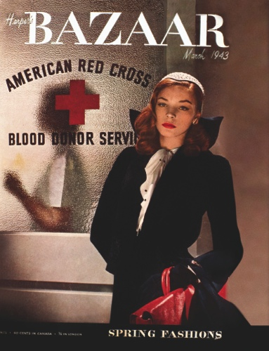 "Actress-model Lauren Bacall on the cover of the March 1943 issue of ""Harper's Bazaar"""