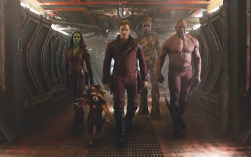 From left, Zoe Saldana, the character Rocket Racoon, voiced by Bladley Cooper, Chris Pratt, the character Groot, voiced by Vin Diesel and Dave Bautista