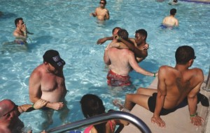 "People wade in the pool during ""Temptation Sundays"" at the Luxor"