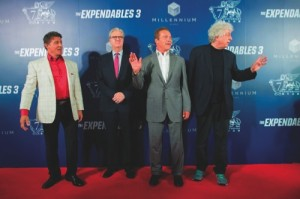 Sylvester Stallone, Sands China president and CEO Edward Tracy, Arnold Schwarzenegger and Nu Image, Inc. and Millennium Films chairman and CEO Avi Lerner walk the red carpet