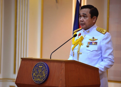 Gen. Prayuth Chan-ocha speaks after he accepts a written royal command issued by King Bhumibol Adulyadej certifying his appointment as the country's 29th premier in Bangkok
