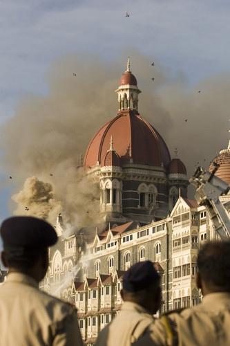 The Taj Mahal hotel is bombed during the 2008 Mumbai attacks