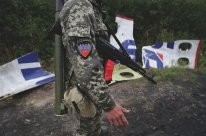 A Pro-Russian rebel stands beside pieces of the Malaysia Airlines Flight 17 plane near village of Rozsypne, eastern Ukraine
