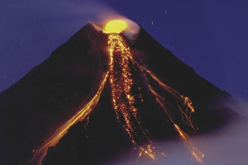 Mayon volcano, one of the country's most active volcanoes, in Albay province, about 550 km southeast of Manila