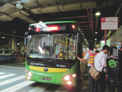 A Reolian (the bankrupted company that was replaced by New Era) bus at the Border Gate underground bus terminal where yesterday's accident happened