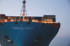 Pilot's View Of A.P. Moeller-Maersk A/S Triple E Class Container Ship Port Arrival