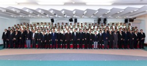 The local sport delegation to the Incheon Asian Games bids farewell to the Chief Executive at the government headquarters