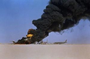 Hijacked Passenger Airplanes Burning in Jordan Desert
