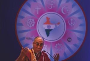 Tibetan spiritual leader the Dalai Lama speaks during an inter-faith meeting in New Delhi, India