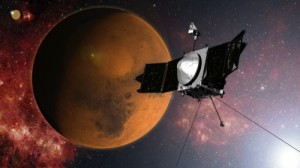 In this artist concept provided by NASA, the MAVEN spacecraft approaches Mars on a mission to study its upper atmosphere