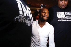 Floyd Mayweather arrives at an event to promote his Saturday title boxing bout against Marcos Maidana, in Las Vegas