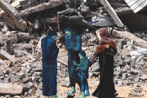 This image made by artist Basel al-Maqosui, shows a collaboration of a famous painting by Spanish painter, Pablo Picasso, paired with a photograph taken by al-Maqosui of a woman walking past a destroyed house after an Israeli Strike hit the Gaza Strip