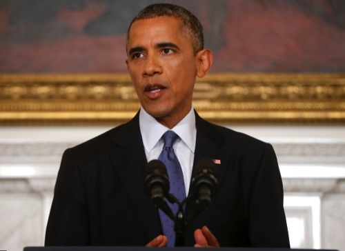 President Barack Obama speaks in the State Dining Room of the White House in Washington