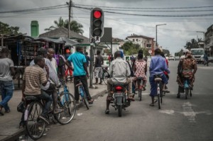 """Bicycle taxi"" cyclists wait in Quelimane"