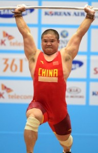 Liu Hao of China competes during the men's 94kg weightlifting contest at the 17th Asian Games