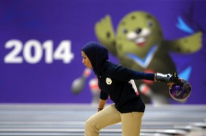 Kuwait's Karam Altaf competes in the women's singles bowling competition at the Anyang Hogye Gymnasium