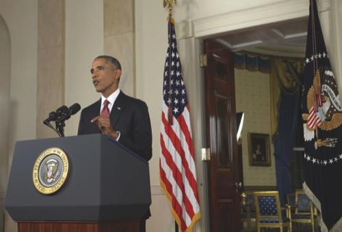 U.S. President Barack Obama speaks during a televised address at the White House in Washington, D.C