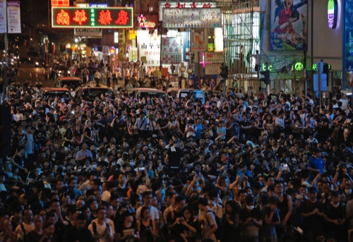 Thousands of pro-democracy protesters gather at Hong Kong's Mongkok district