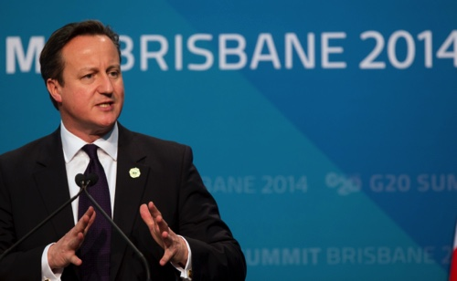 British Prime Minister David Cameron addresses a press conference at the conclusion of the G-20 summit in Brisbane, Australia