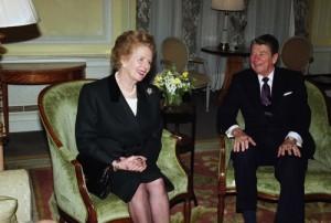 Former United States President Ronald Reagan smiles with Former British Prime Minister Margaret Thatcher
