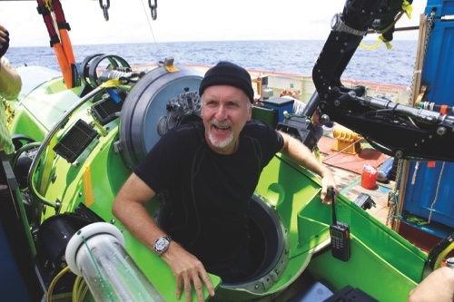 "Filmmaker James Cameron emerging from the Deepsea Challenger after his successful solo dive to the Mariana Trench, during the filming of ""Deepsea Challenge 3D"""
