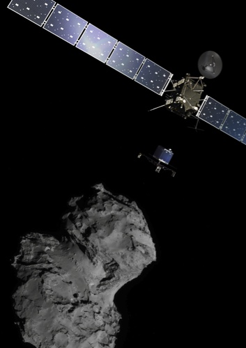 The picture released by the European Space Agency ESA shows the Rosetta mission poster which is a combination of various images to illustrate the deployment of the Philae lander to comet 67P/Churyumov–Gerasimenko