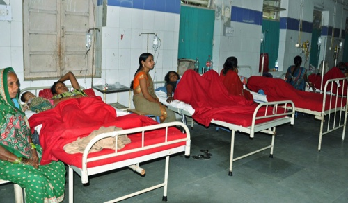 Indian women who underwent sterilization surgeries receive treatment at the CIMS hospital in Bilaspur, in the central Indian state of Chhattisgarh