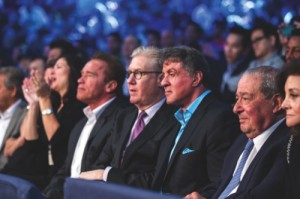 Mrs Tracy, Arnold Schwarzenegger, Edward Tracy, Sylvester Stallone and Bob Arum