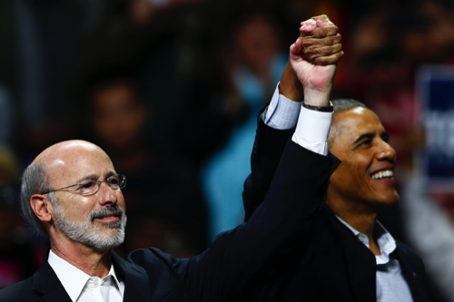 President Barack Obama, right, campaigns for Pennsylvania Democratic gubernatorial candidate Tom Wolf