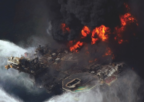 In this April 21, 2010 file aerial photo taken in the Gulf of Mexico, the Deepwater Horizon oil rig is seen burning
