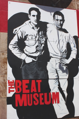 A mural from a 1952 photograph adorning the exterior of the Beat Museum in San Francisco, shows Beat Generation writer Jack Kerouac, right, and his friend and fellow Beat author Neal Cassady