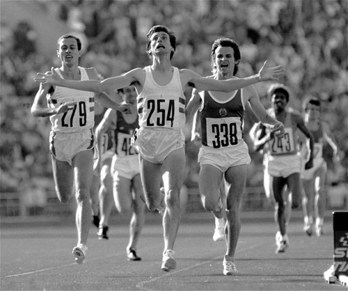In this Aug. 1, 1980 file photo, Britain's Sebastian Coe, center, crosses the finish line to win the Summer Olympic men's 1,500-meter race at Moscow's Lenin Stadium