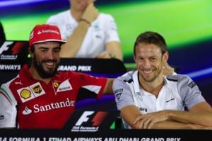 Ferrari driver Fernando Alonso of Spain, left, and McLaren  driver Jenson Button of Britain