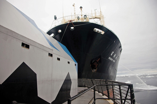 Japanese whaling vessel Nisshin Maru, right, collides with the Sea Shepherd ship Steve Irwin in waters near Antarctica