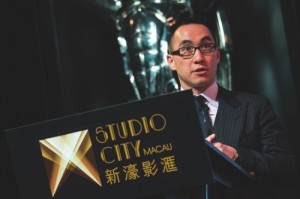 Lawrence Ho speaks during the unveiling ceremony of the Studio City casino resort