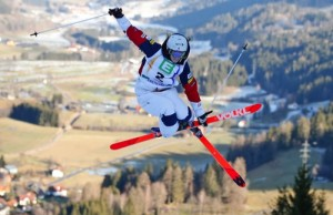 Hannah Kearney from the U.S. competes to place second in the women's freestyle skiing single moguls final event at the Freestyle Ski and Snowboard World Championships in Kreischberg, Austria